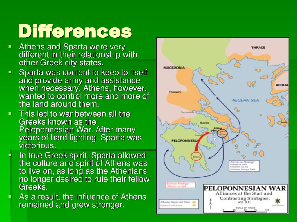 Differences Athens and Sparta were very different in their relationship with other Greek city states.