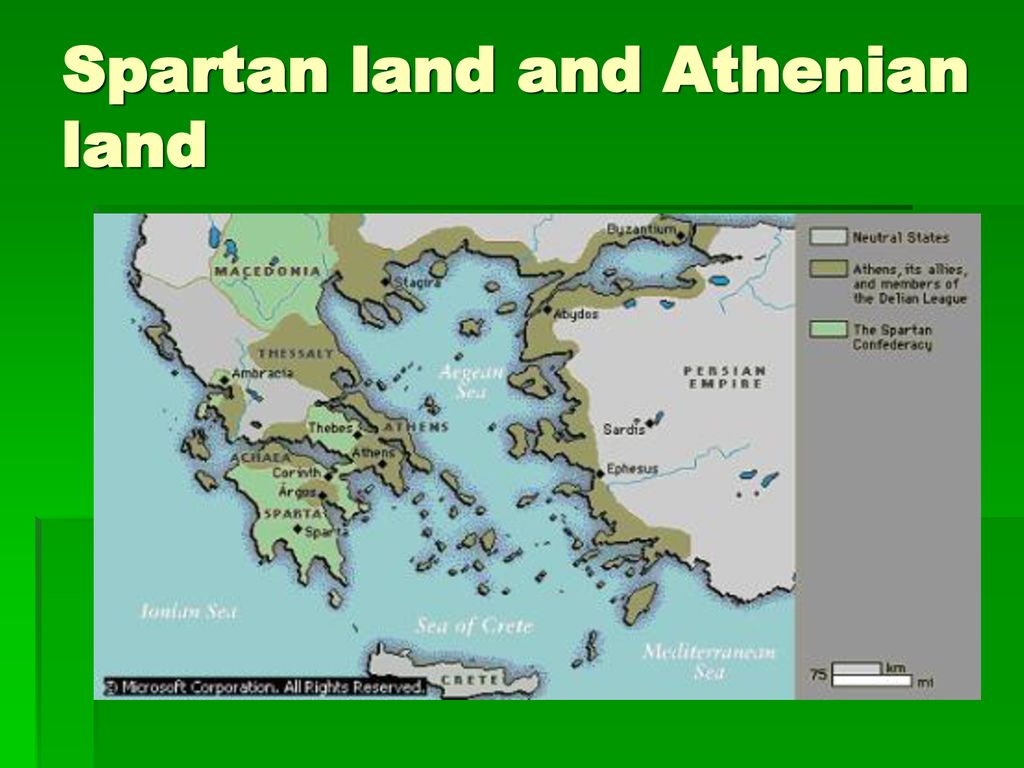 Spartan land and Athenian land