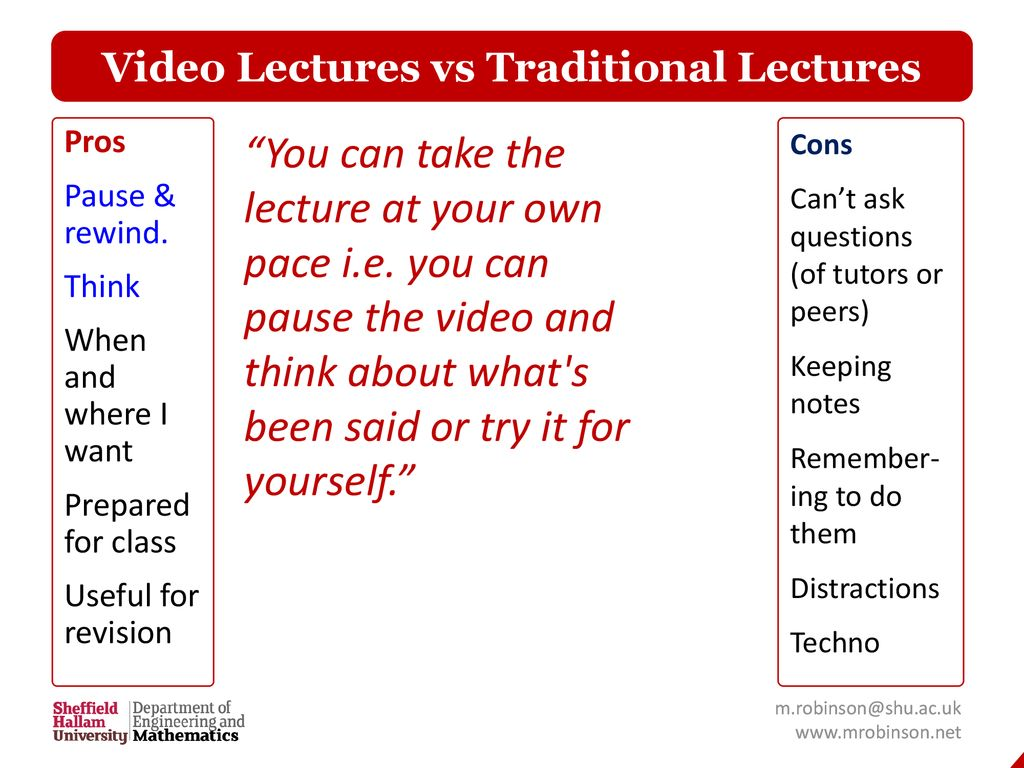 Video Lectures vs Traditional Lectures - ppt download