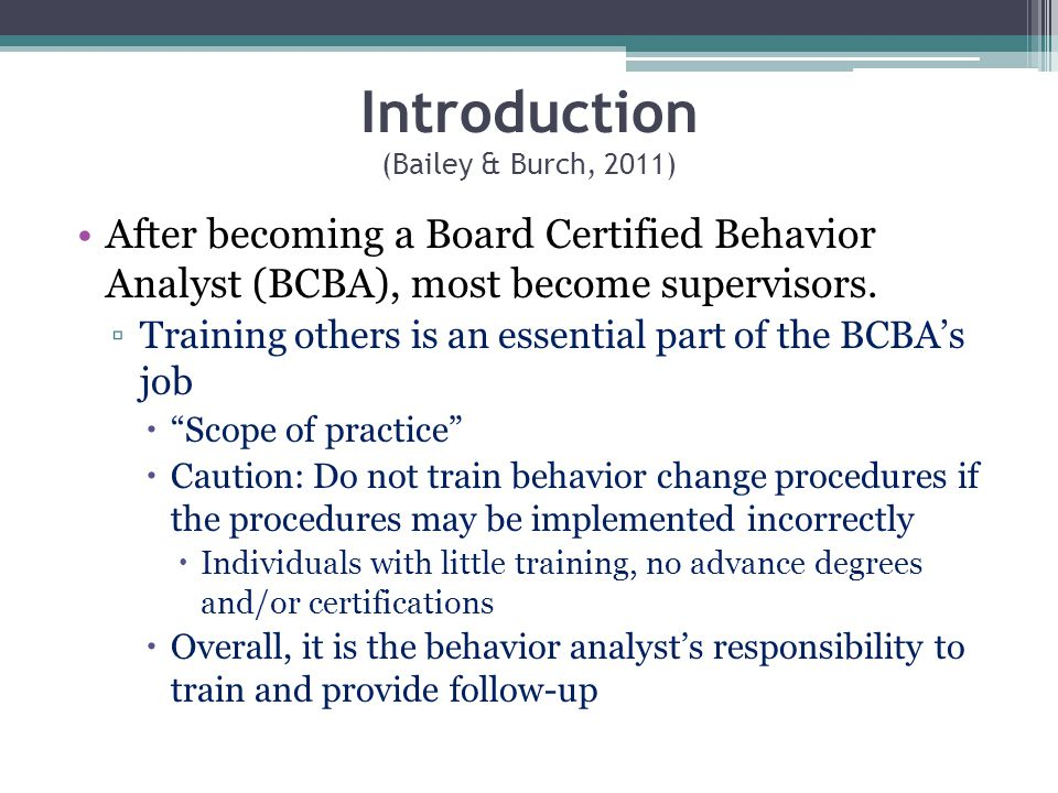 Chapter 10 The Behavior Analyst As A Teacher Or Supervisor Ppt