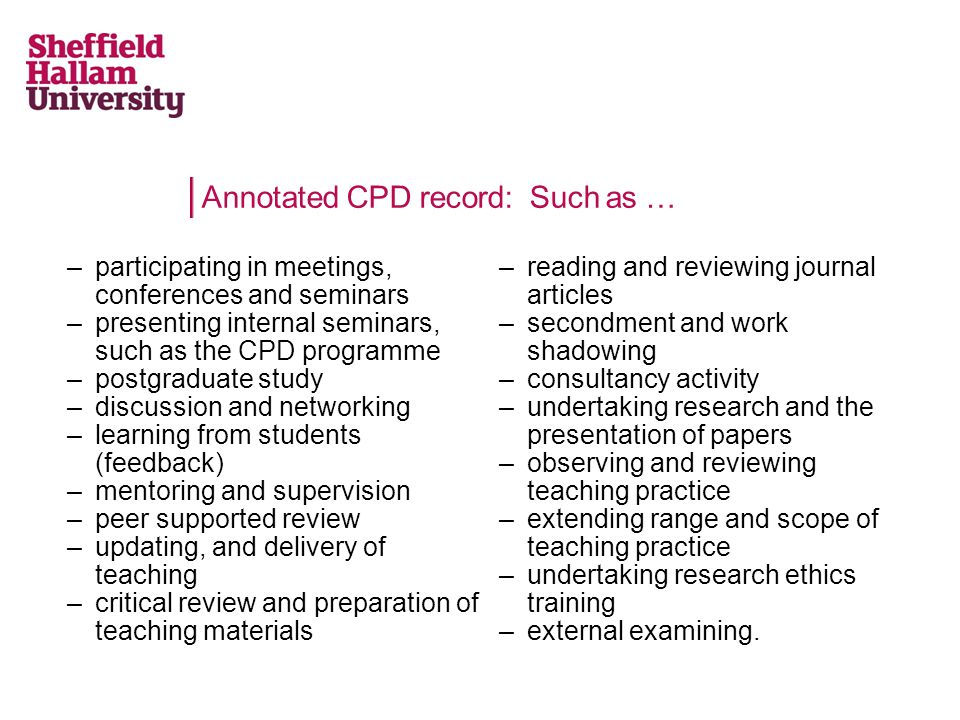 Annotated CPD record: Such as …