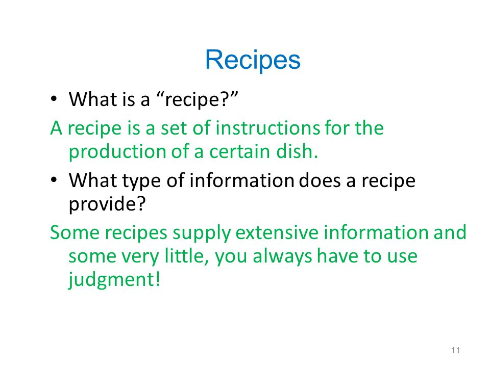 Recipes What is a recipe