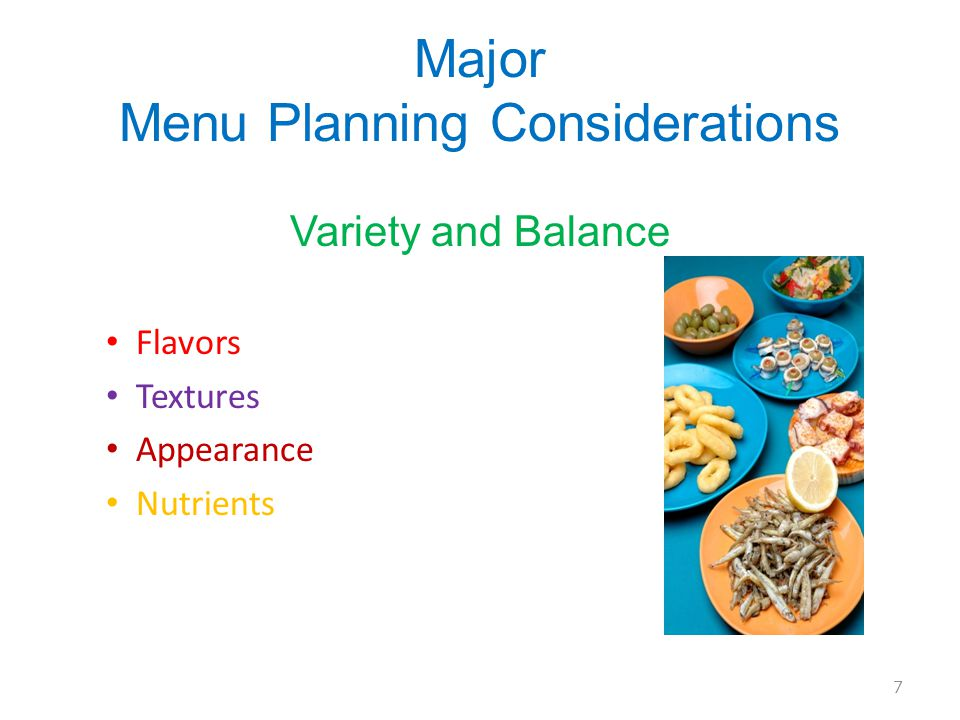 Major Menu Planning Considerations