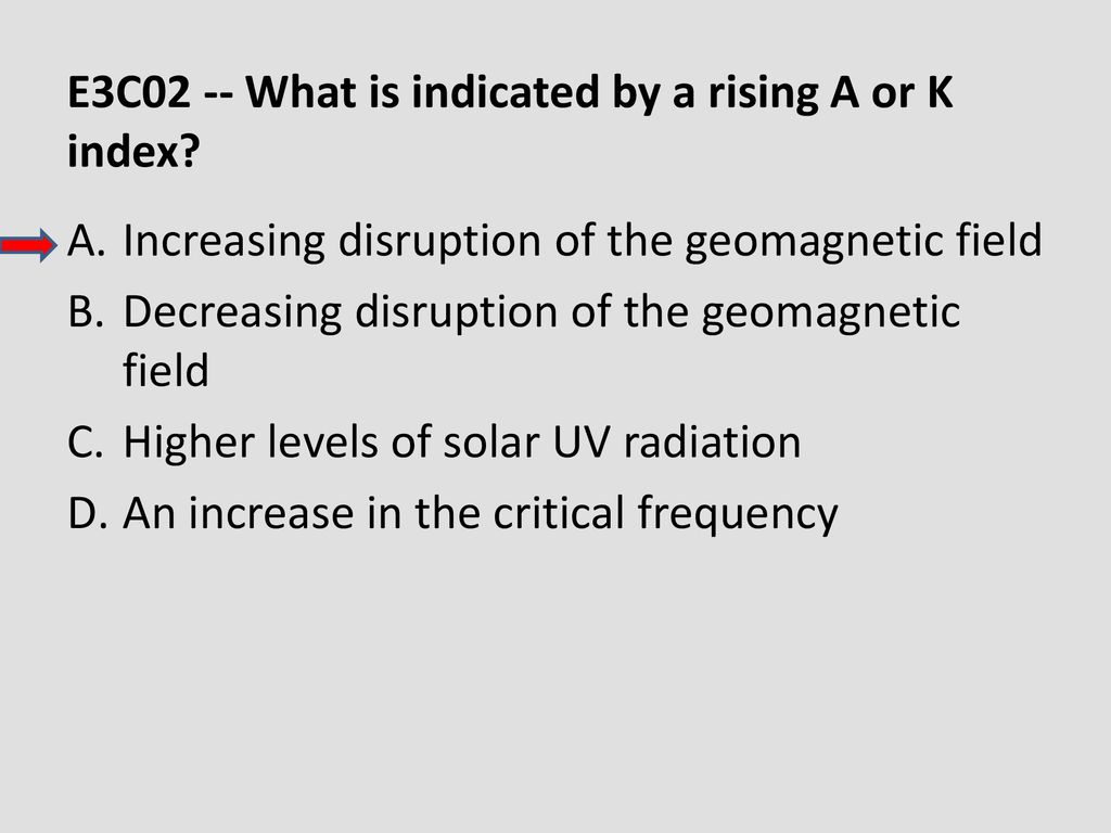E3C02 -- What is indicated by a rising A or K index