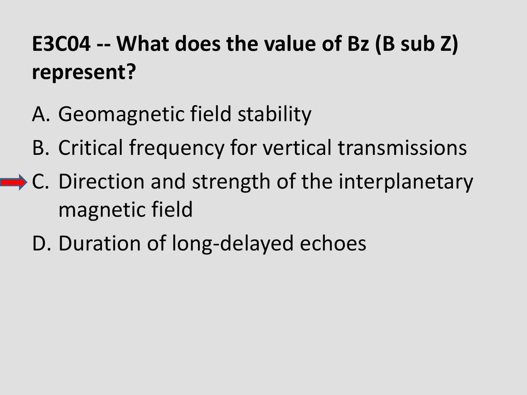 E3C04 -- What does the value of Bz (B sub Z) represent