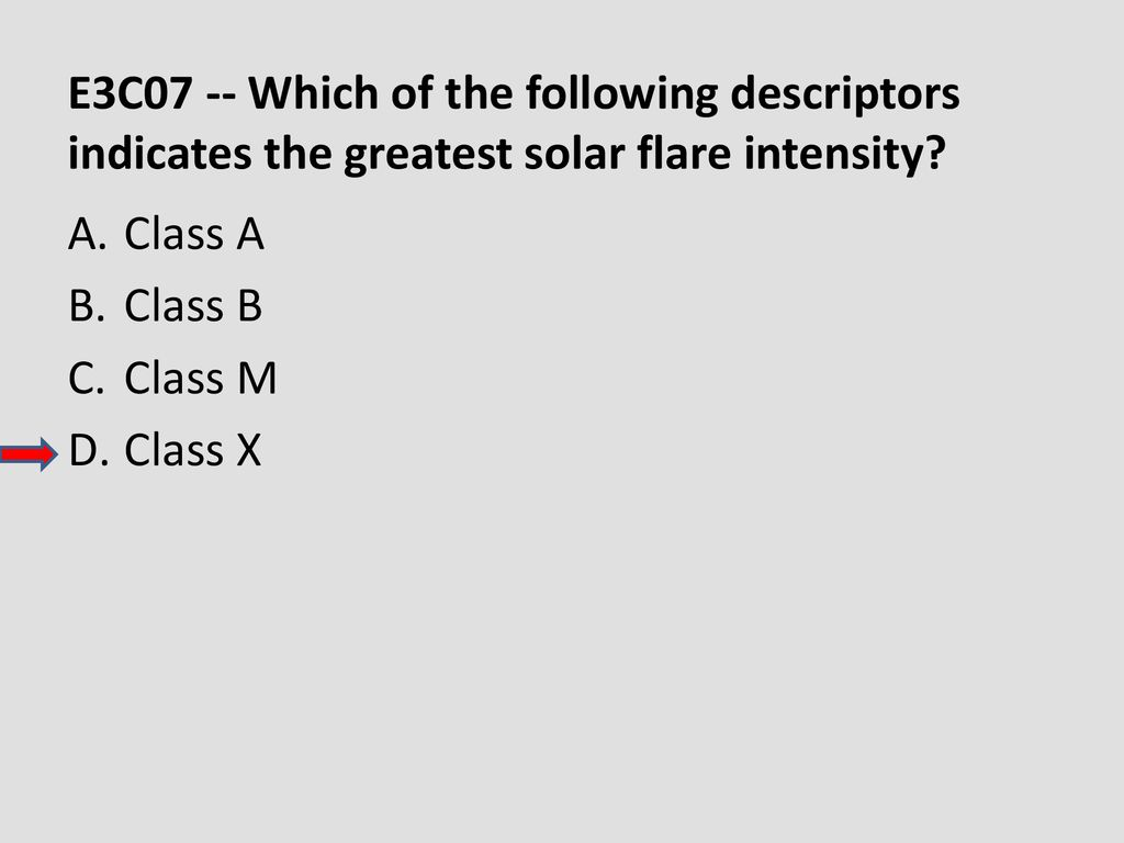 E3C07 -- Which of the following descriptors indicates the greatest solar flare intensity
