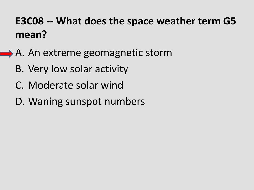 E3C08 -- What does the space weather term G5 mean