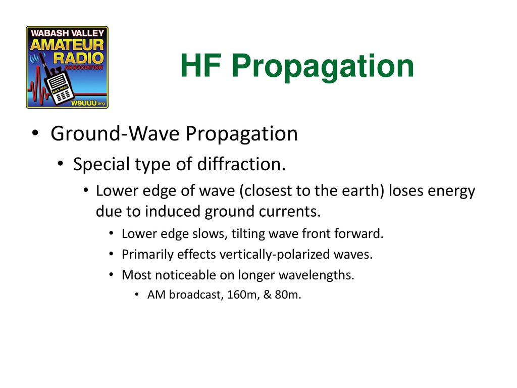 HF Propagation Ground-Wave Propagation Special type of diffraction.