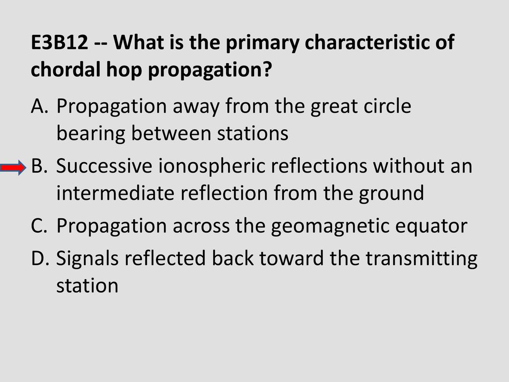 E3B12 -- What is the primary characteristic of chordal hop propagation