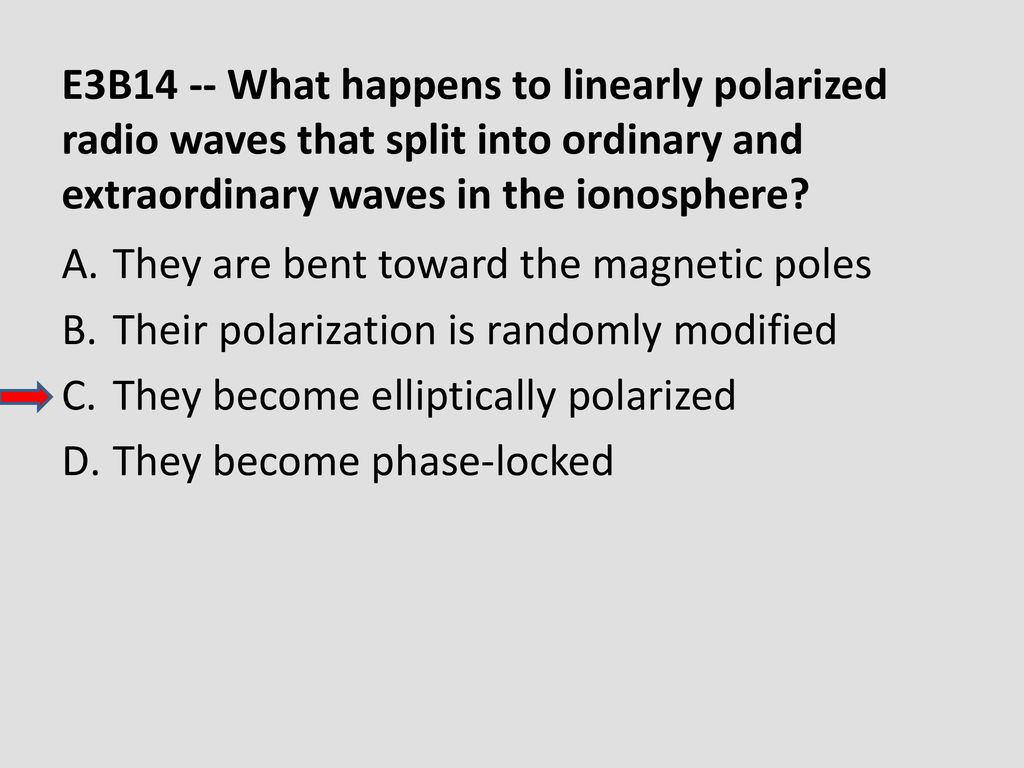 E3B14 -- What happens to linearly polarized radio waves that split into ordinary and extraordinary waves in the ionosphere