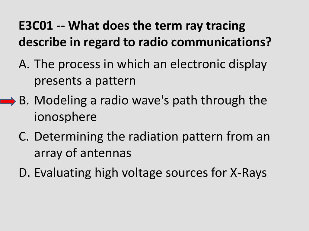 E3C01 -- What does the term ray tracing describe in regard to radio communications