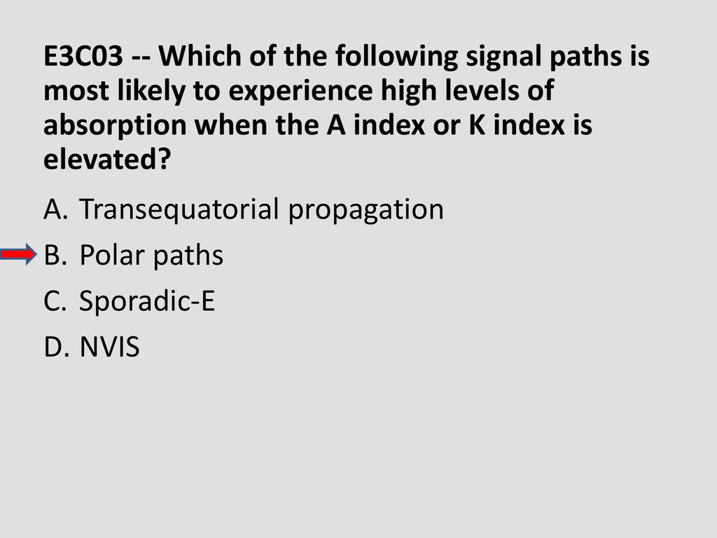 E3C03 -- Which of the following signal paths is most likely to experience high levels of absorption when the A index or K index is elevated
