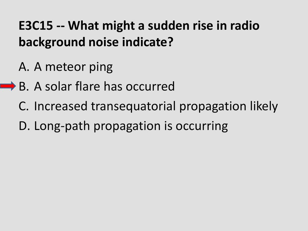 E3C15 -- What might a sudden rise in radio background noise indicate