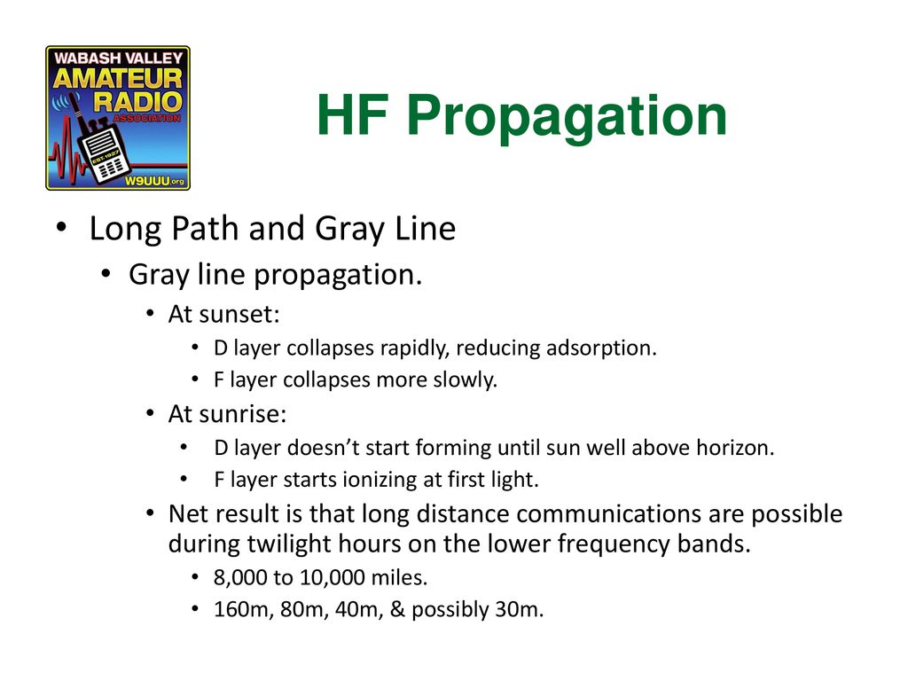 HF Propagation Long Path and Gray Line Gray line propagation.