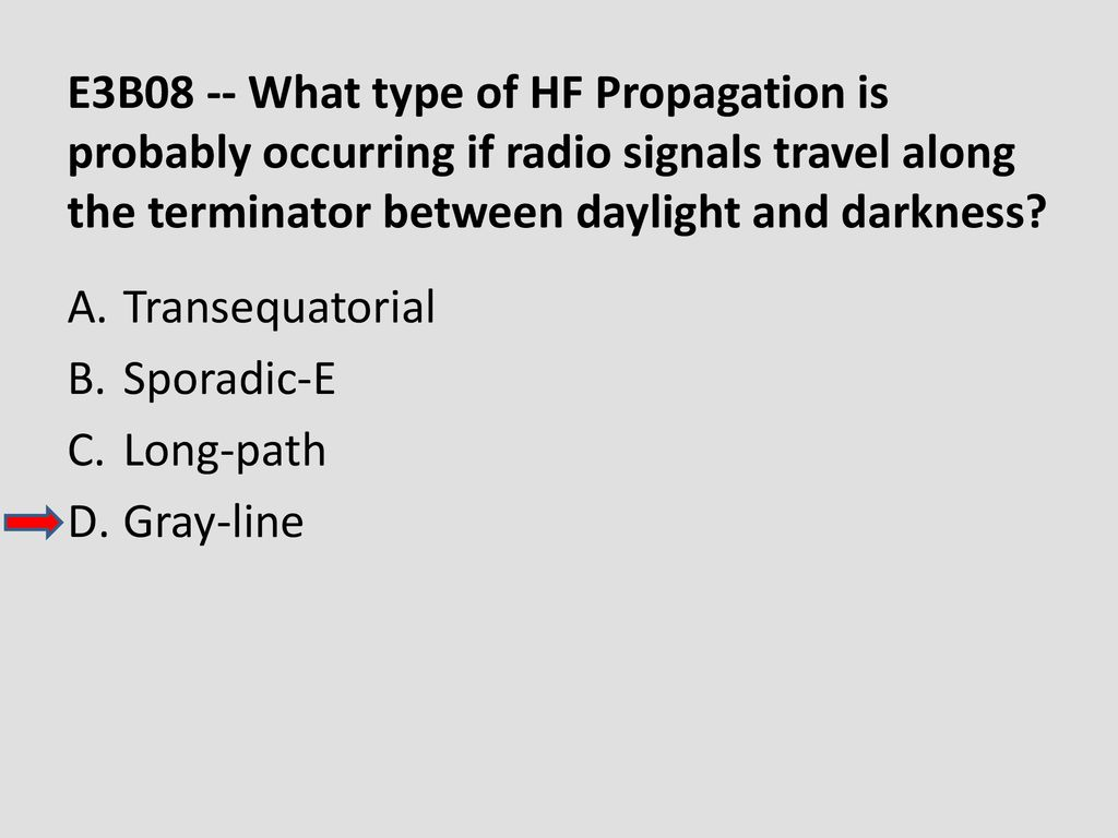 E3B08 -- What type of HF Propagation is probably occurring if radio signals travel along the terminator between daylight and darkness