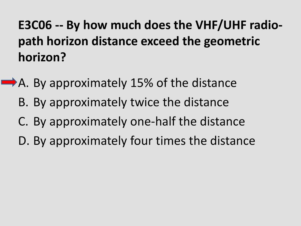 E3C06 -- By how much does the VHF/UHF radio-path horizon distance exceed the geometric horizon
