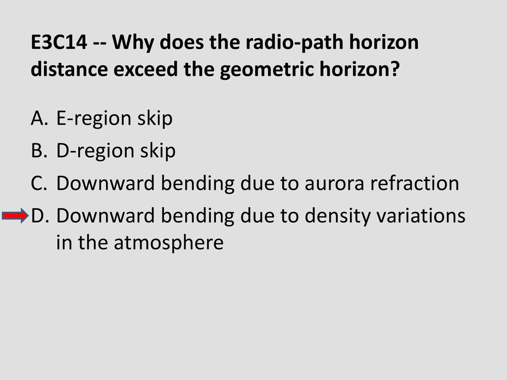 E3C14 -- Why does the radio-path horizon distance exceed the geometric horizon