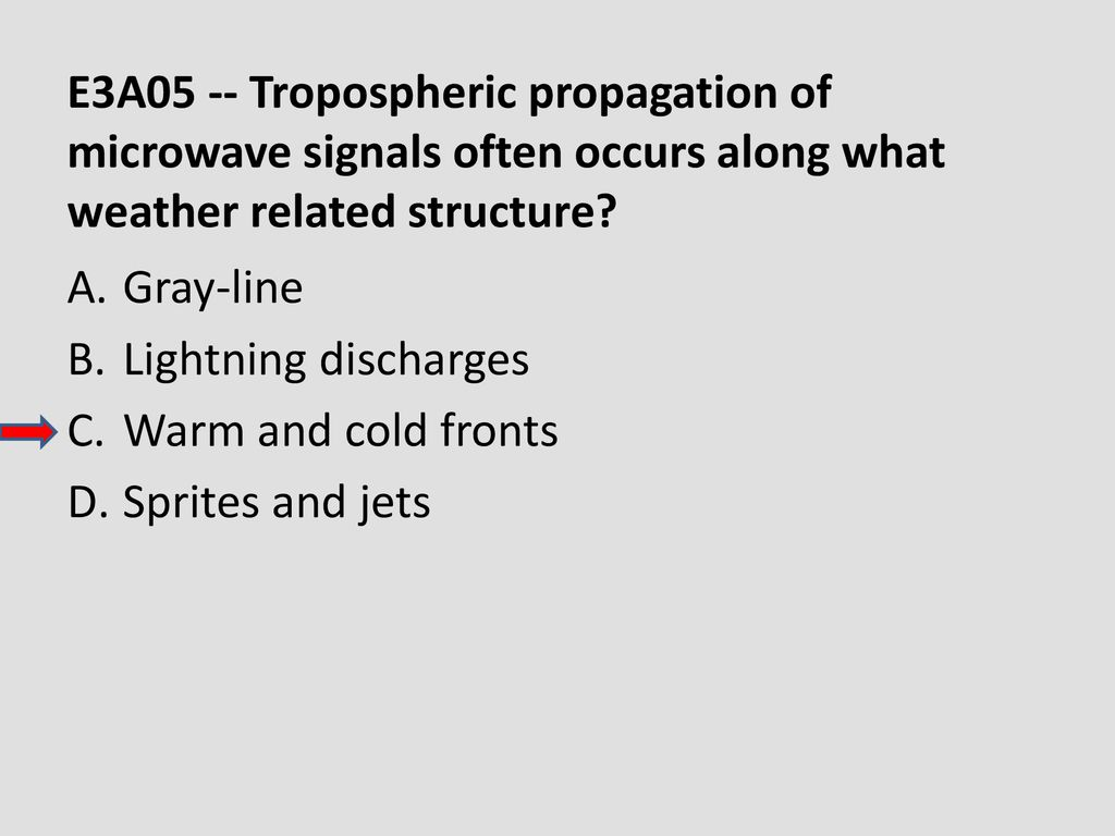 E3A05 -- Tropospheric propagation of microwave signals often occurs along what weather related structure