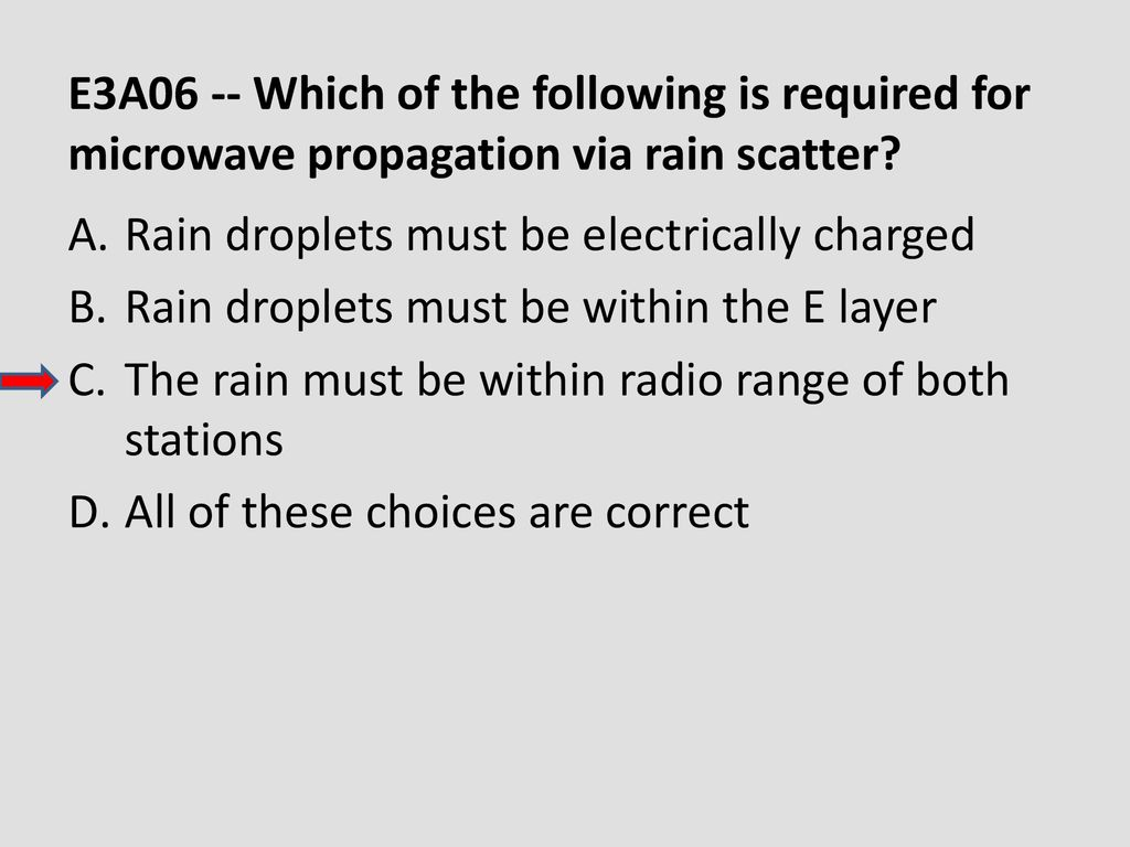 E3A06 -- Which of the following is required for microwave propagation via rain scatter