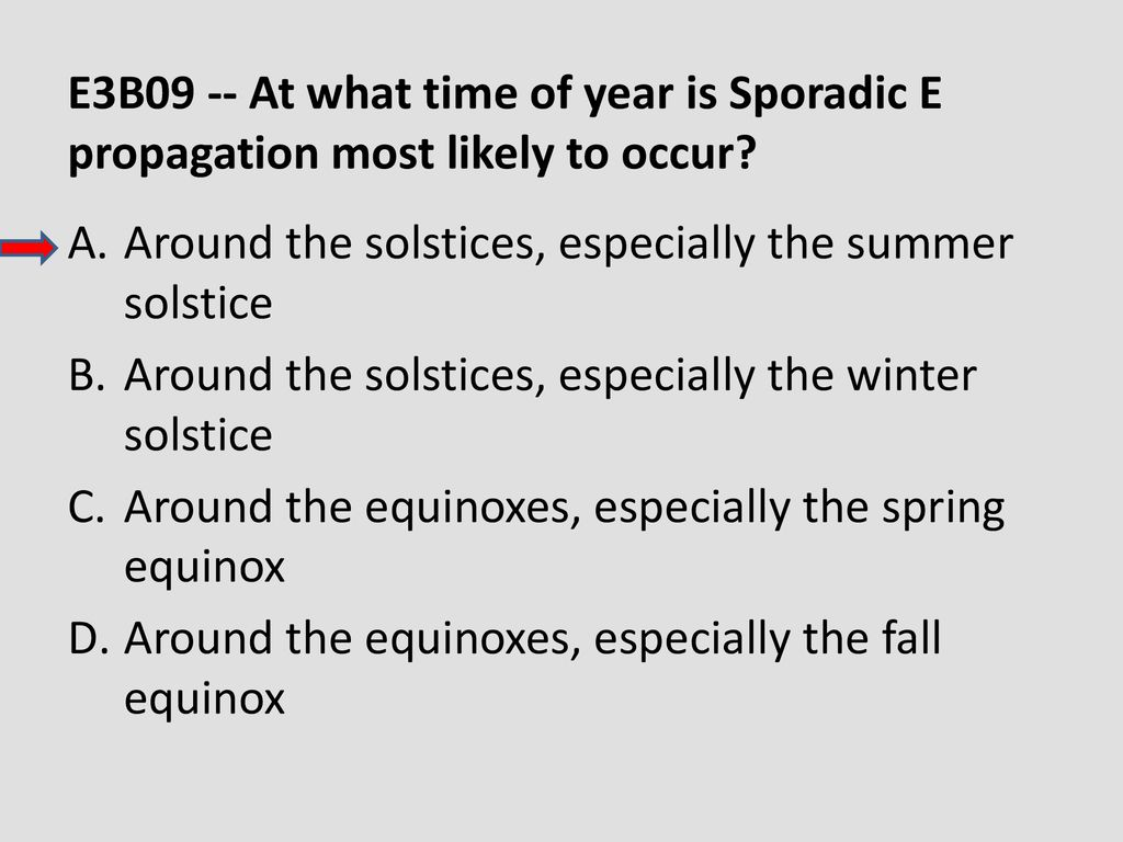 E3B09 -- At what time of year is Sporadic E propagation most likely to occur