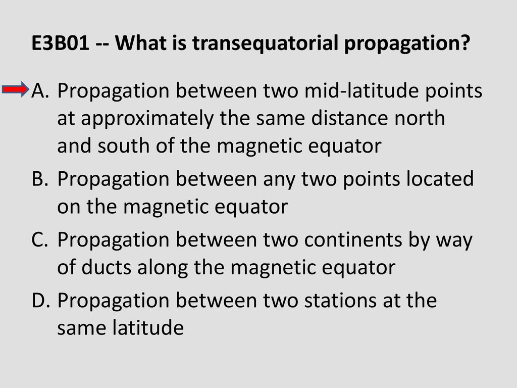 E3B01 -- What is transequatorial propagation