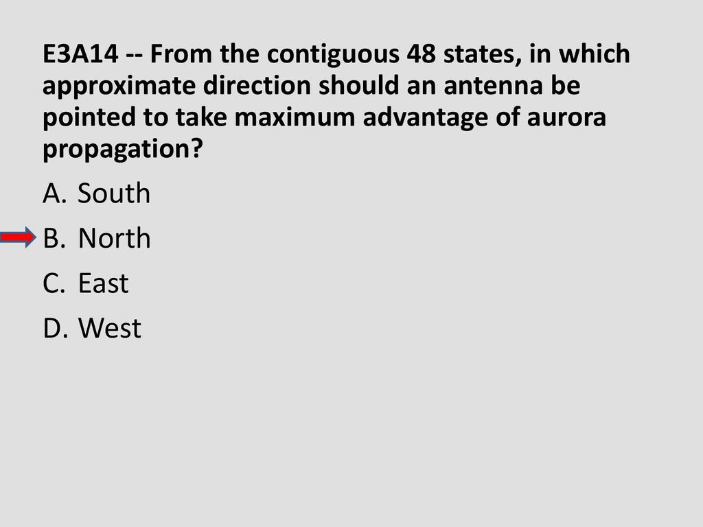 E3A14 -- From the contiguous 48 states, in which approximate direction should an antenna be pointed to take maximum advantage of aurora propagation
