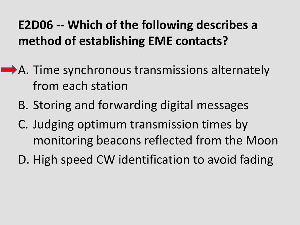 E2D06 -- Which of the following describes a method of establishing EME contacts