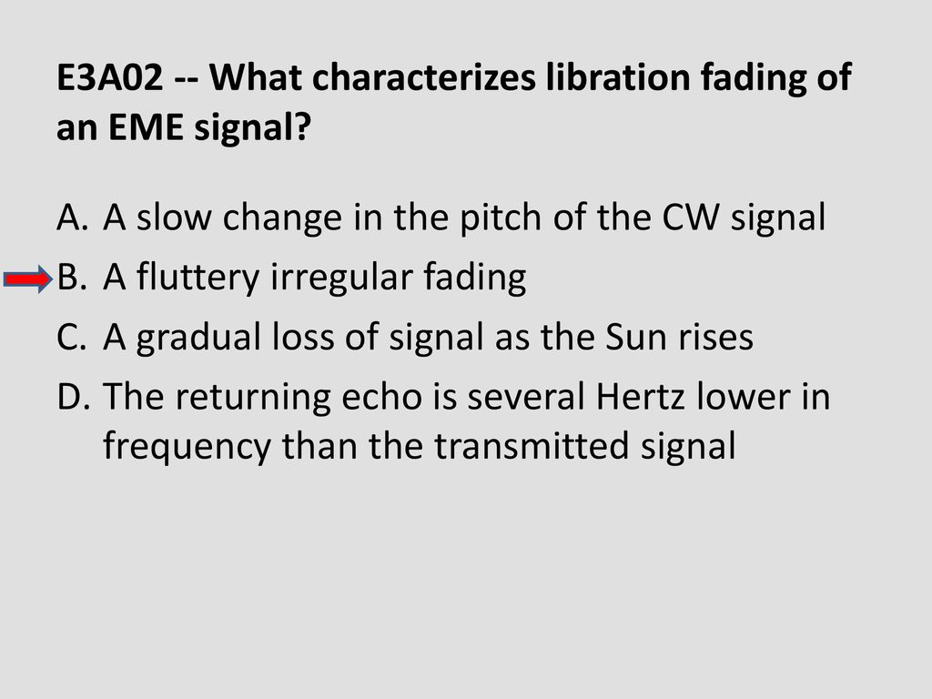 E3A02 -- What characterizes libration fading of an EME signal