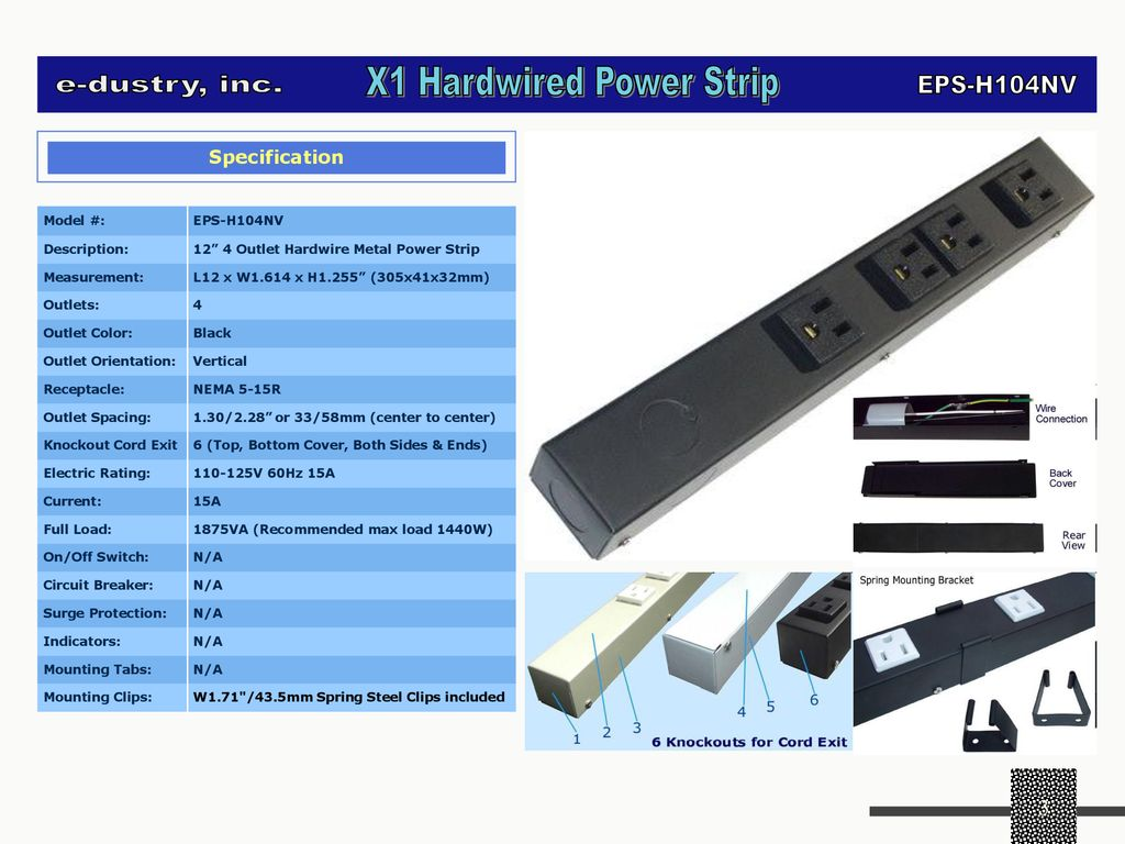 e-dustry EPS-H104NV 4 Outlet Hardwired Power Strip Black 12 in
