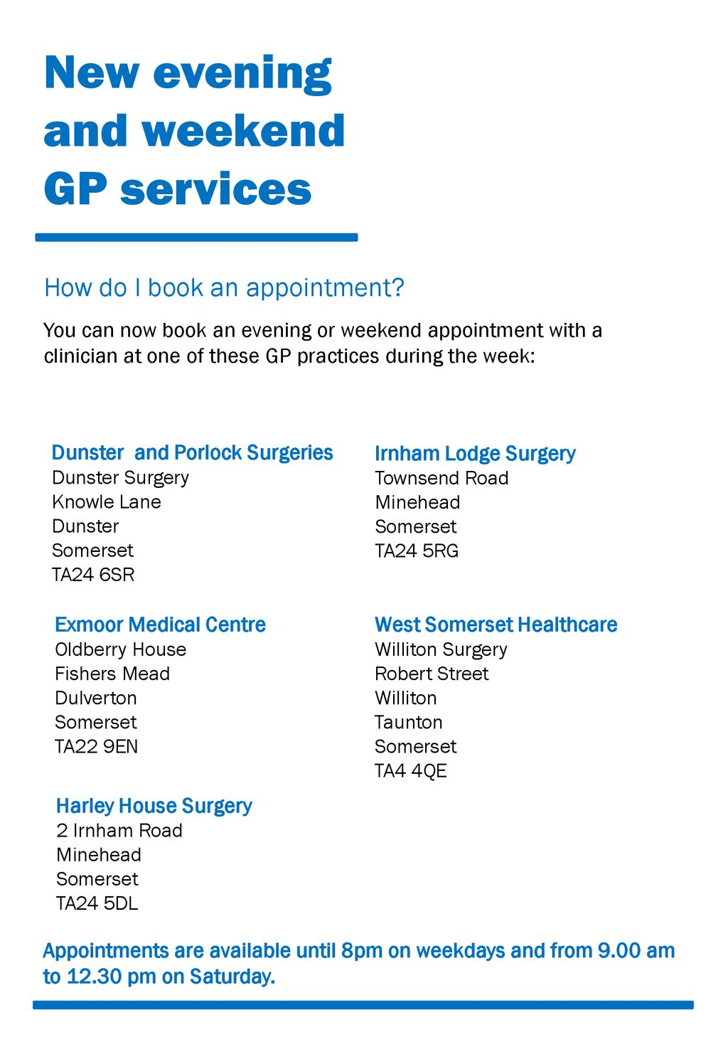 New evening and weekend GP services - ppt download