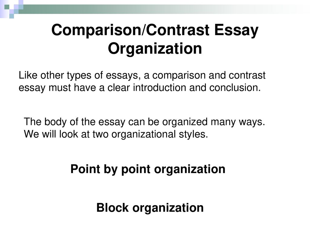 Examples Of Proposal Essays Comparisoncontrast Essay Organization English Language Essays also Into The Wild Essay Thesis Comparison And Contrast Essays  Ppt Download Essays On Different Topics In English