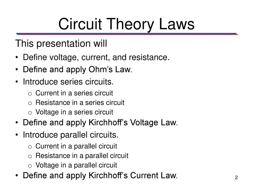 Circuit Theory Laws Digital Electronics Tm Ppt Define Series And Parallel Circuits 2