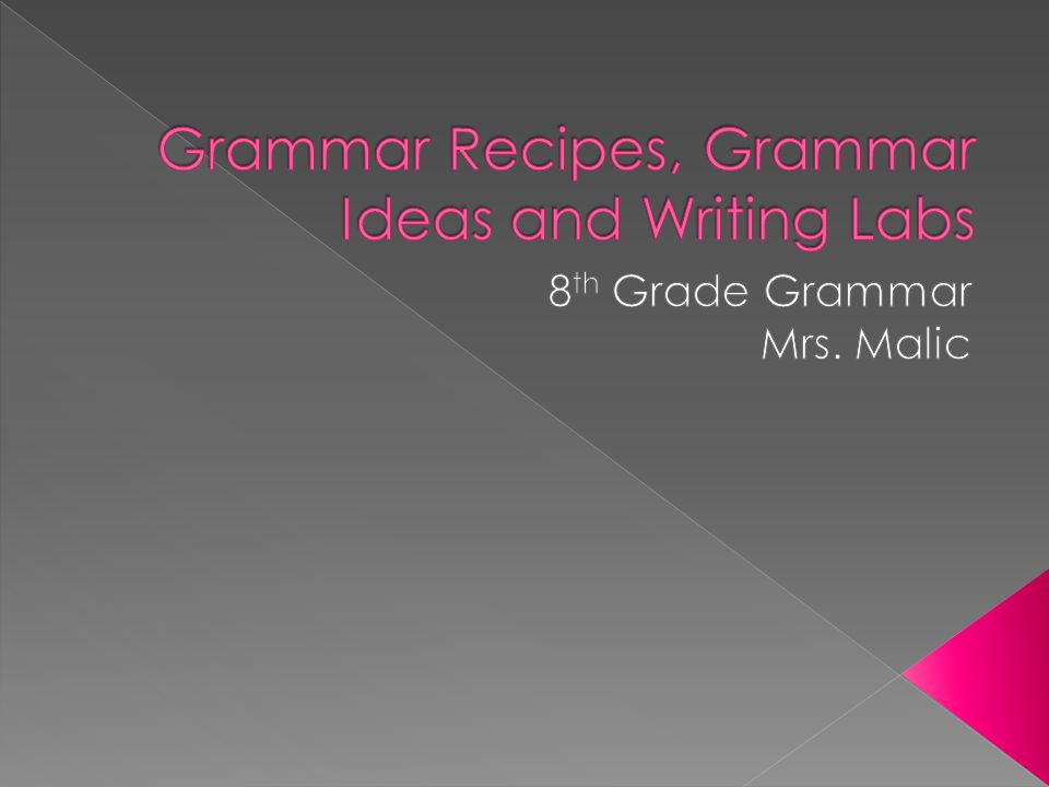 Grammar Recipes, Grammar Ideas and Writing Labs