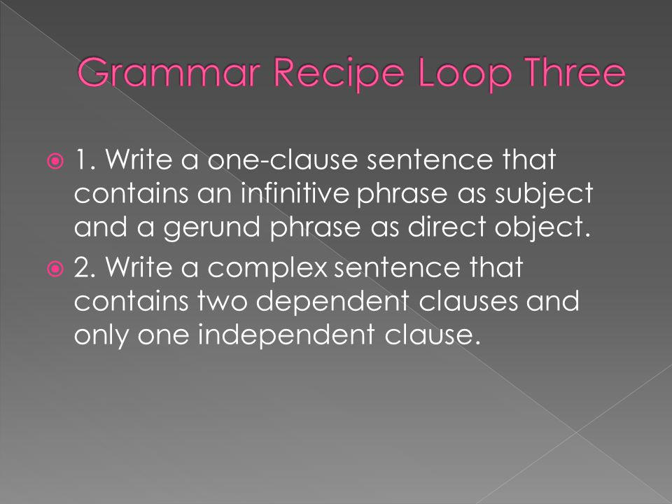 Grammar Recipe Loop Three