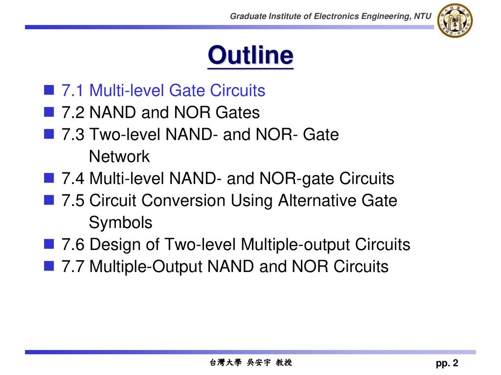 Ch7 Multilevel Gate Network Ppt Download Nor Diagram Outline 71 Multi Level Circuits 72 Nand And Gates