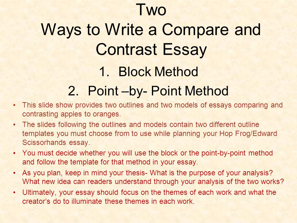 comparison and contrast essay point by point method The point-by-point method is suitable for _____ complex  writing english online: introduction to compare and contrast essay while we can compare and contrast two chairs, an essay on this topic is likely to block back point by point method colour key: thesis and conclusion.