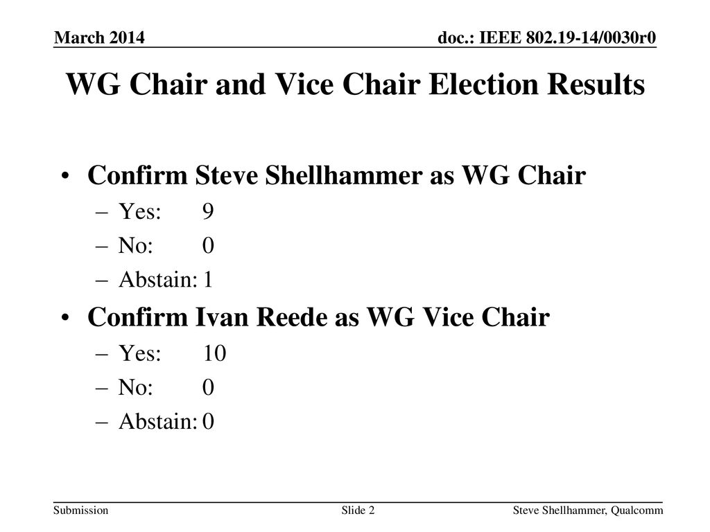WG Chair and Vice Chair Election Results