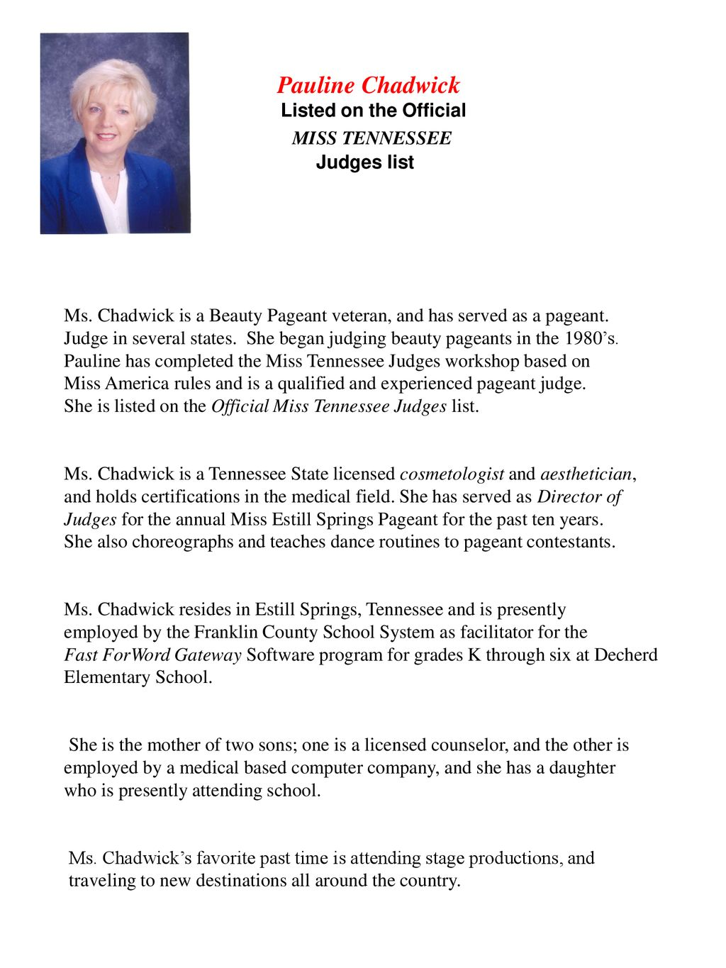 pauline chadwick miss tennessee listed on the official judges list