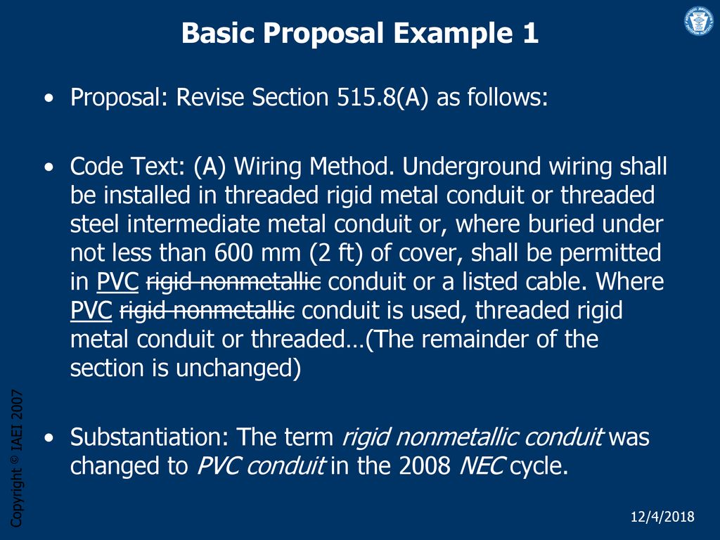 Developing Good Nec Proposals Ppt Download Conduit Wiring Installing Metal How To Install Electrical 24 Basic Proposal Example 1