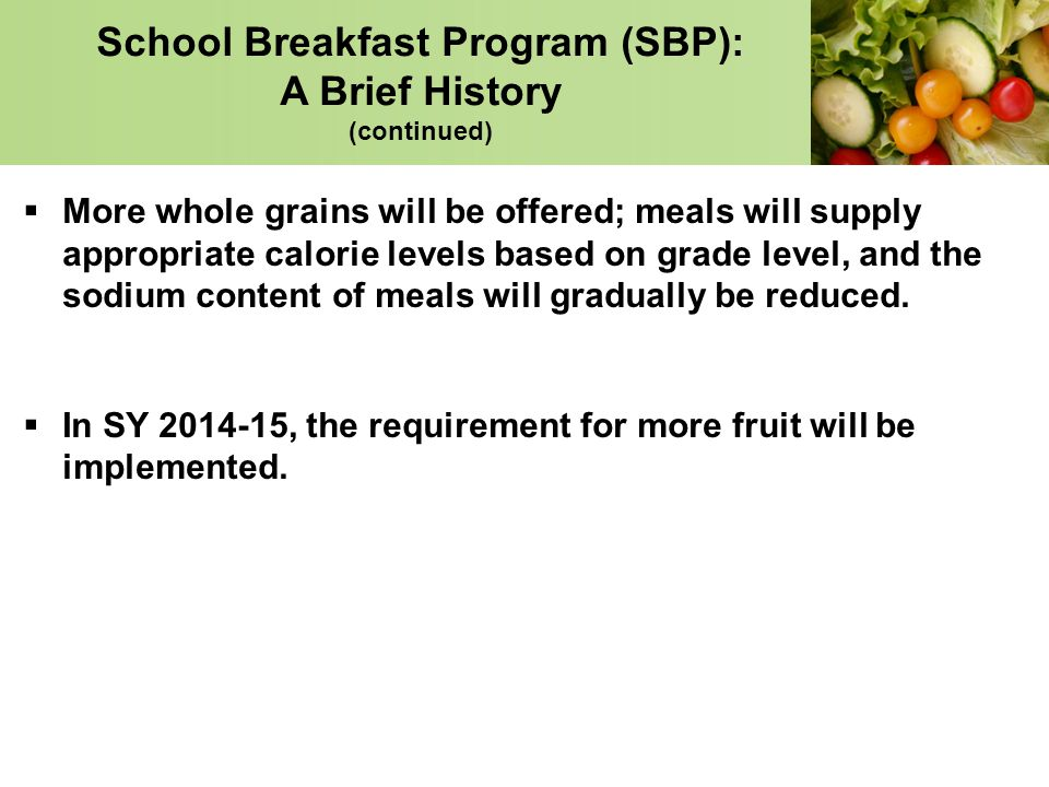 USDA School Breakfast & National School Lunch Program