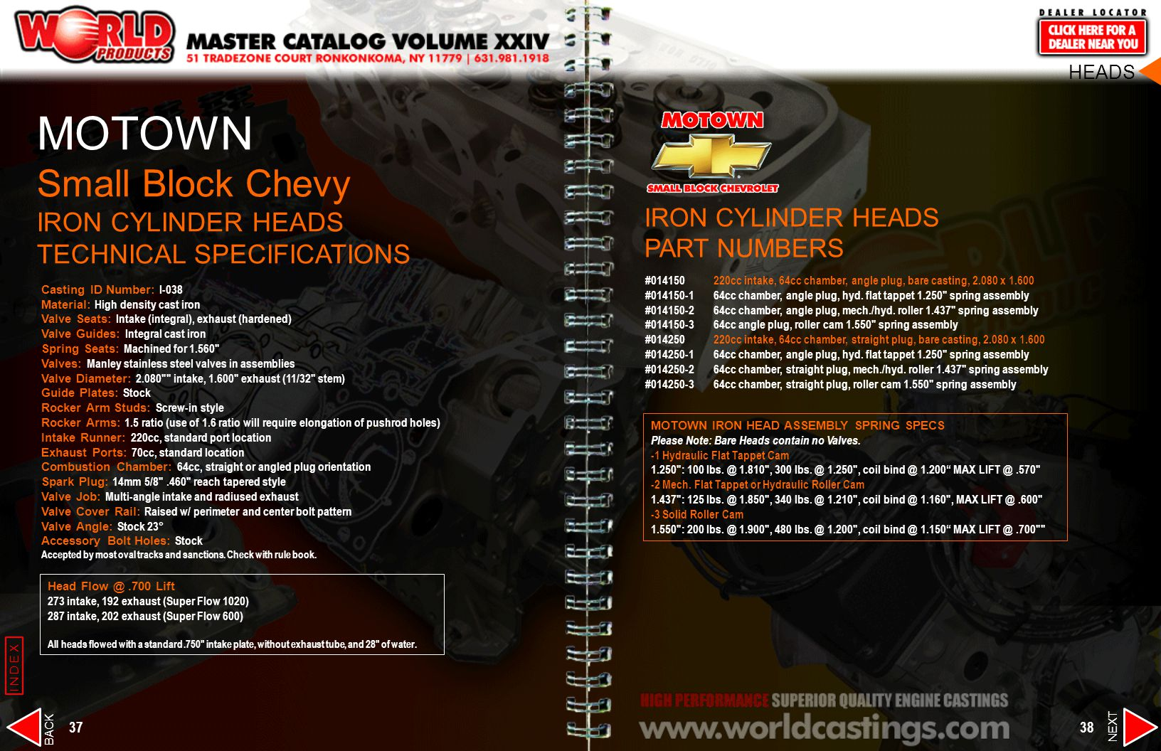 MOTOWN Small Block Chevy IRON CYLINDER HEADS TECHNICAL SPECIFICATIONS