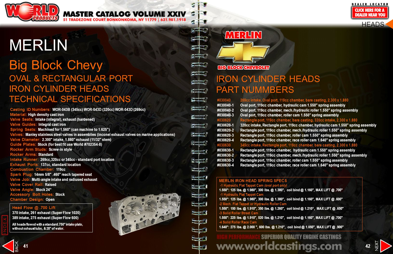HEADS MERLIN. Big Block Chevy OVAL & RECTANGULAR PORT IRON CYLINDER HEADS TECHNICAL SPECIFICATIONS.