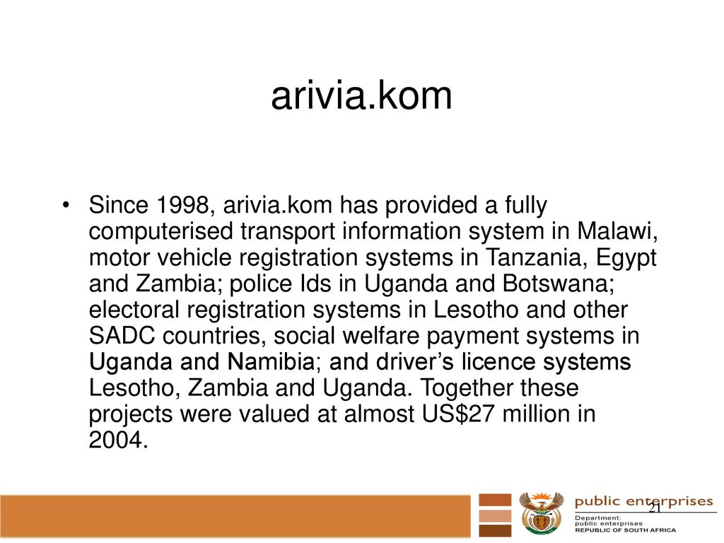 SOEs' ROLE & INVESTMENTS IN AFRICA Portfolio Committee on