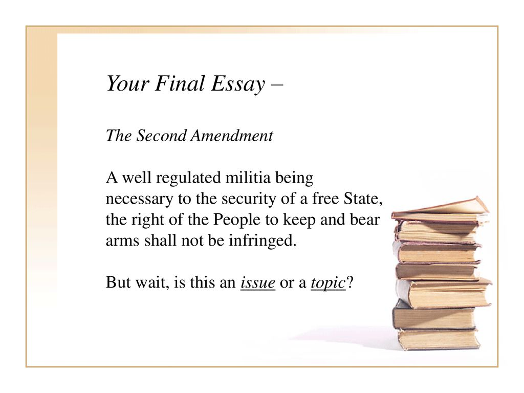 Philosophy  Title Critical Reasoning Instructor Paul Dickey  Your Final Essay  The Second Amendment