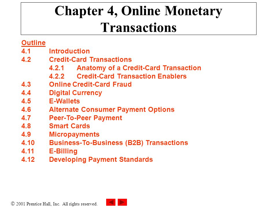 Chapter 4, Online Monetary Transactions