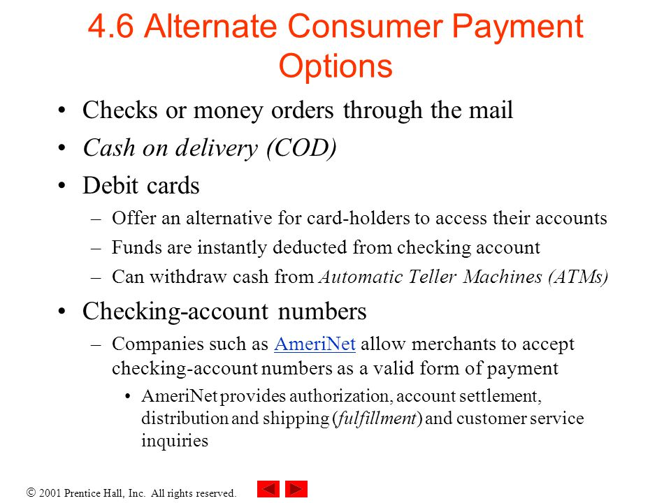4.6 Alternate Consumer Payment Options