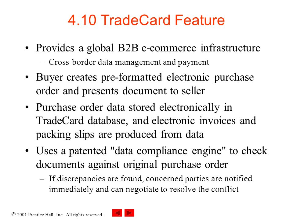 4.10 TradeCard Feature Provides a global B2B e-commerce infrastructure