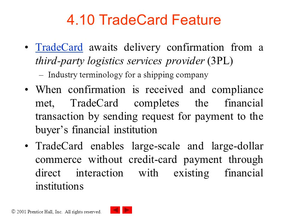 4.10 TradeCard Feature TradeCard awaits delivery confirmation from a third-party logistics services provider (3PL)