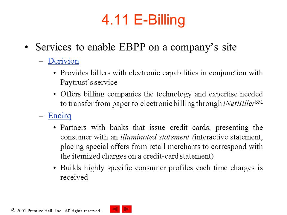 4.11 E-Billing Services to enable EBPP on a company's site Derivion