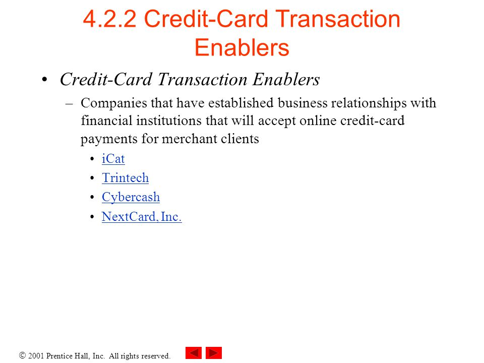 4.2.2 Credit-Card Transaction Enablers